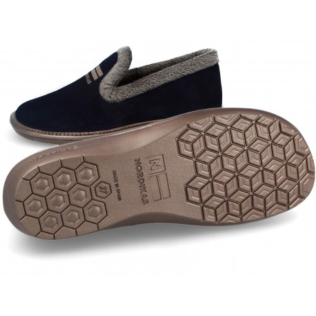 Suede Navy Blue Slippers