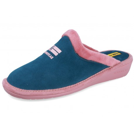 238 SUEDE PETROL slippers for women