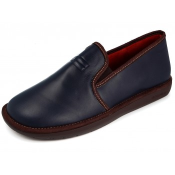 7517 Navy Blue Leather Slippers